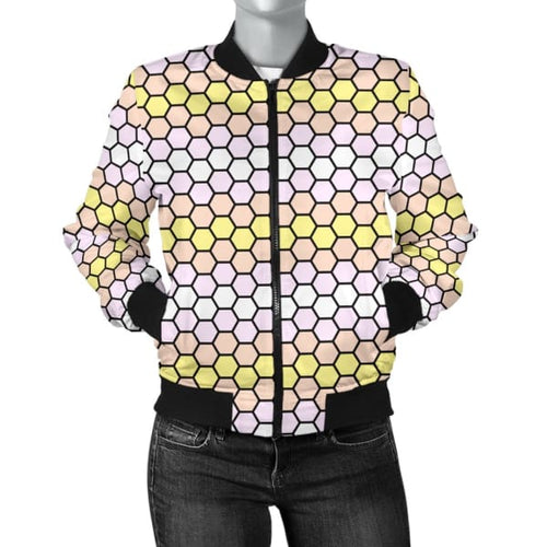 Womens Bomber Jacket - Pangender Honeycomb