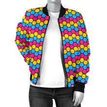 Womens Bomber Jacket - Pansexual Honeycomb