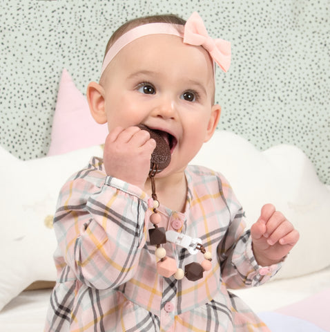 Brown Cookie Teether with Pacifier Clip