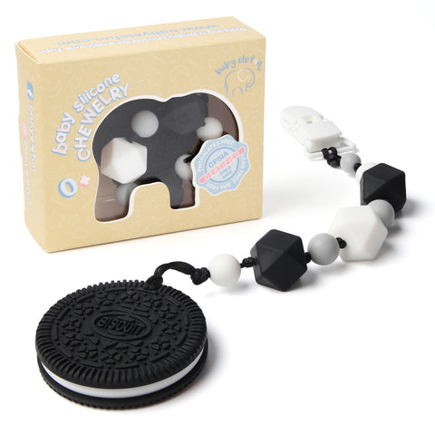 Black and White Cookie Teether with Pacifier Clip