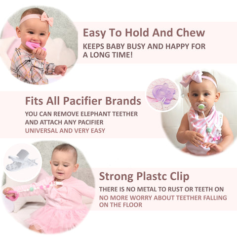 Pink Elephant Teether with Pacifier Clip