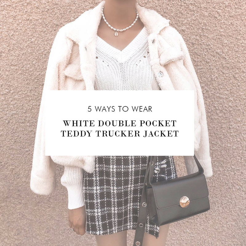 5 Ways To Wear: White Double Pocket Teddy Trucker Jacket