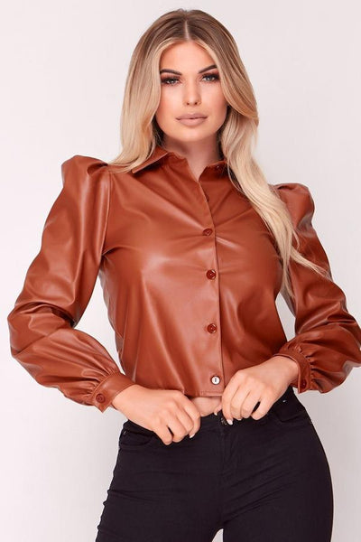 Brown Faux Leather Puff Shoulder Shirt
