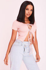 Pink Open Lace Up Cropped Cardigan