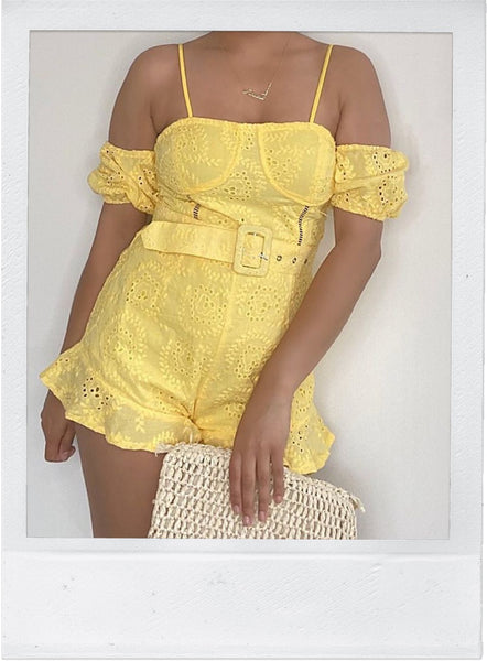 Yellow Eyelet Bardot Playsuit