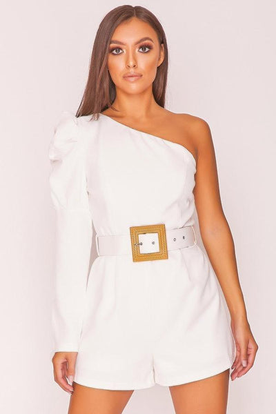 White Puff Sleeve Belted Playsuit
