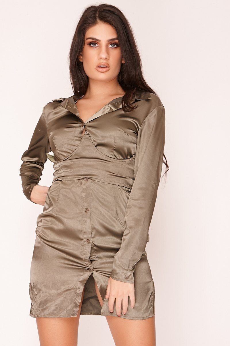 Green Satin Corset Shirt Dress Dress SV29/SV30