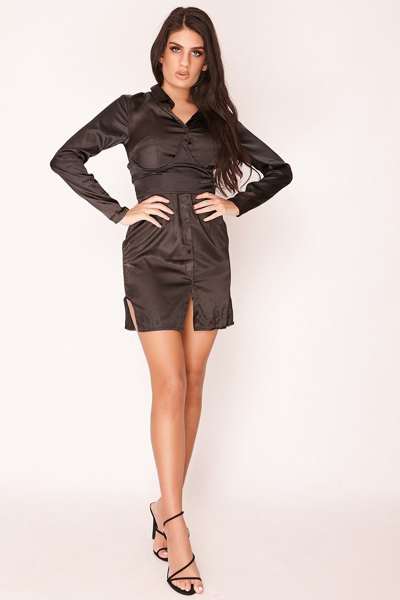 Black Satin Corset Shirt Dress Dress SV31