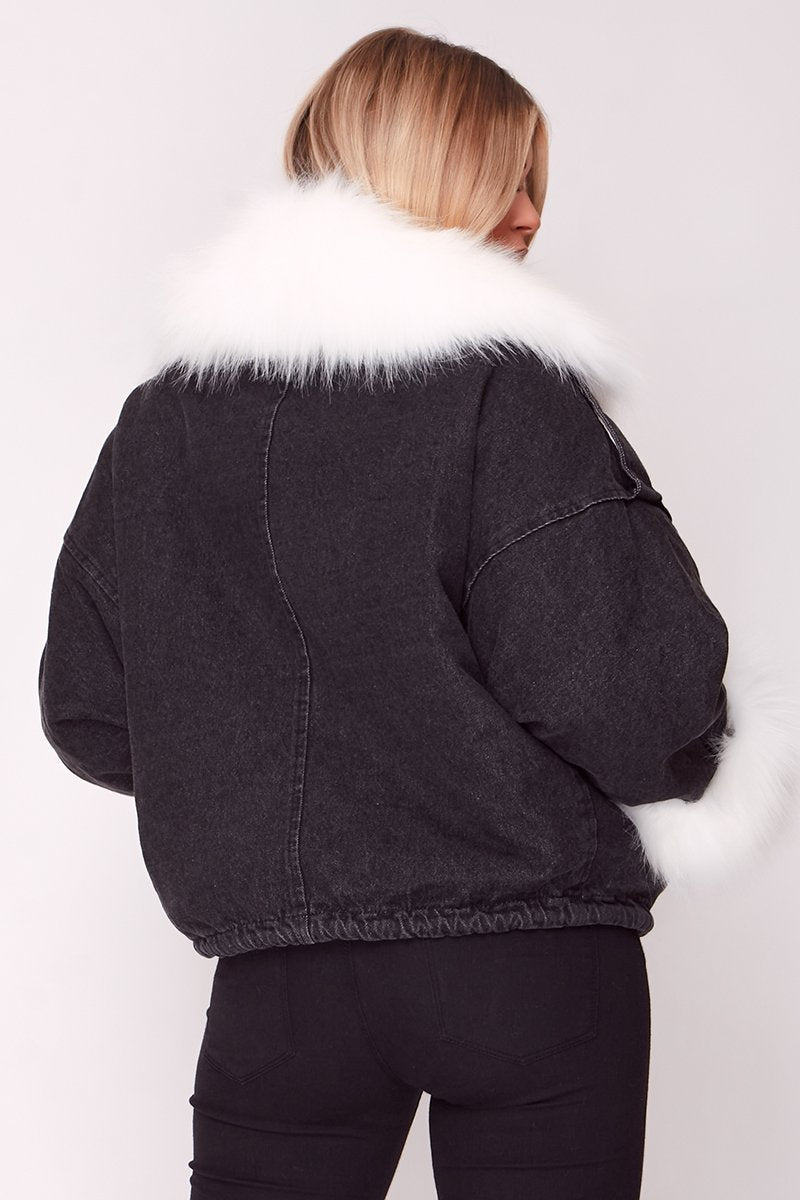 Black Oversized Denim Jacket with Faux Fur Trim