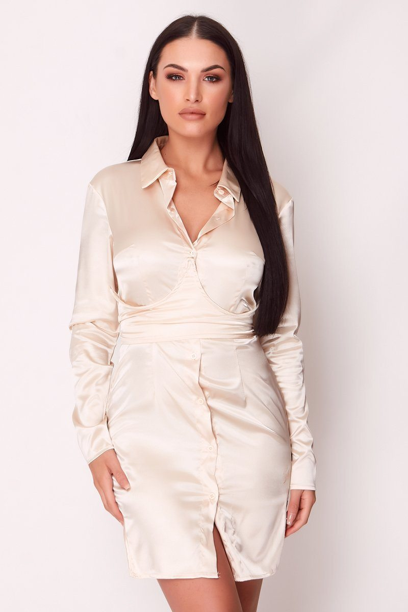 Cream Satin Corset Shirt Dress Dress Moguland