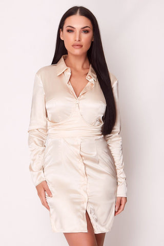 Champagne Plunge Silk Blazer Dress