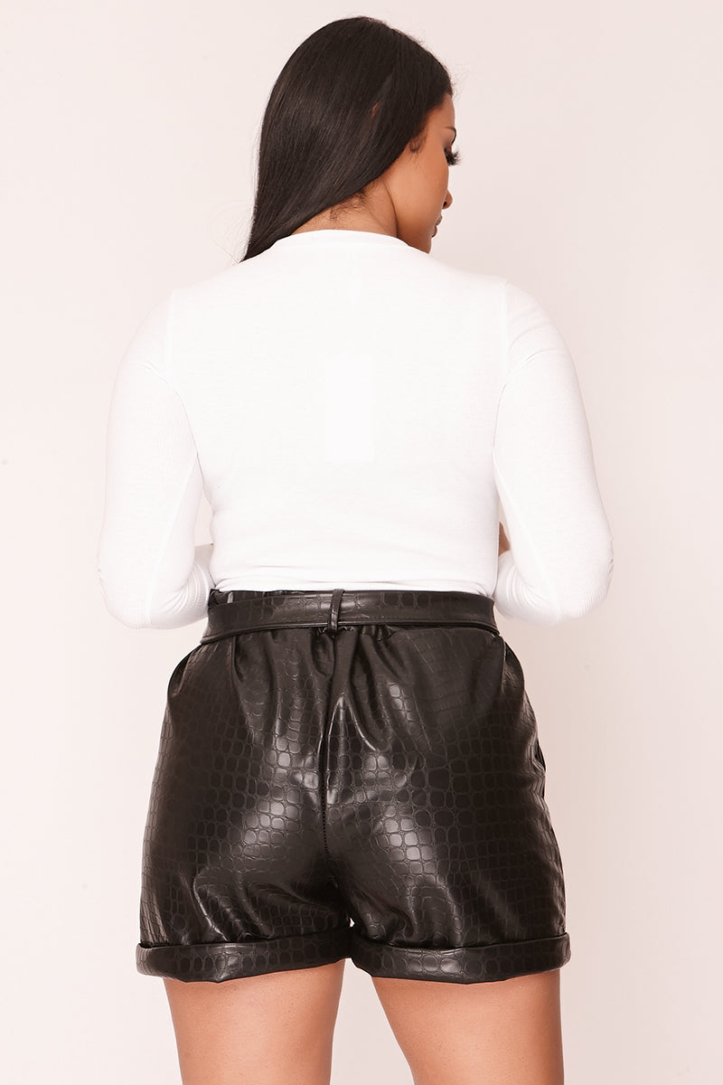 Black Faux Leather Croc Belted Shorts