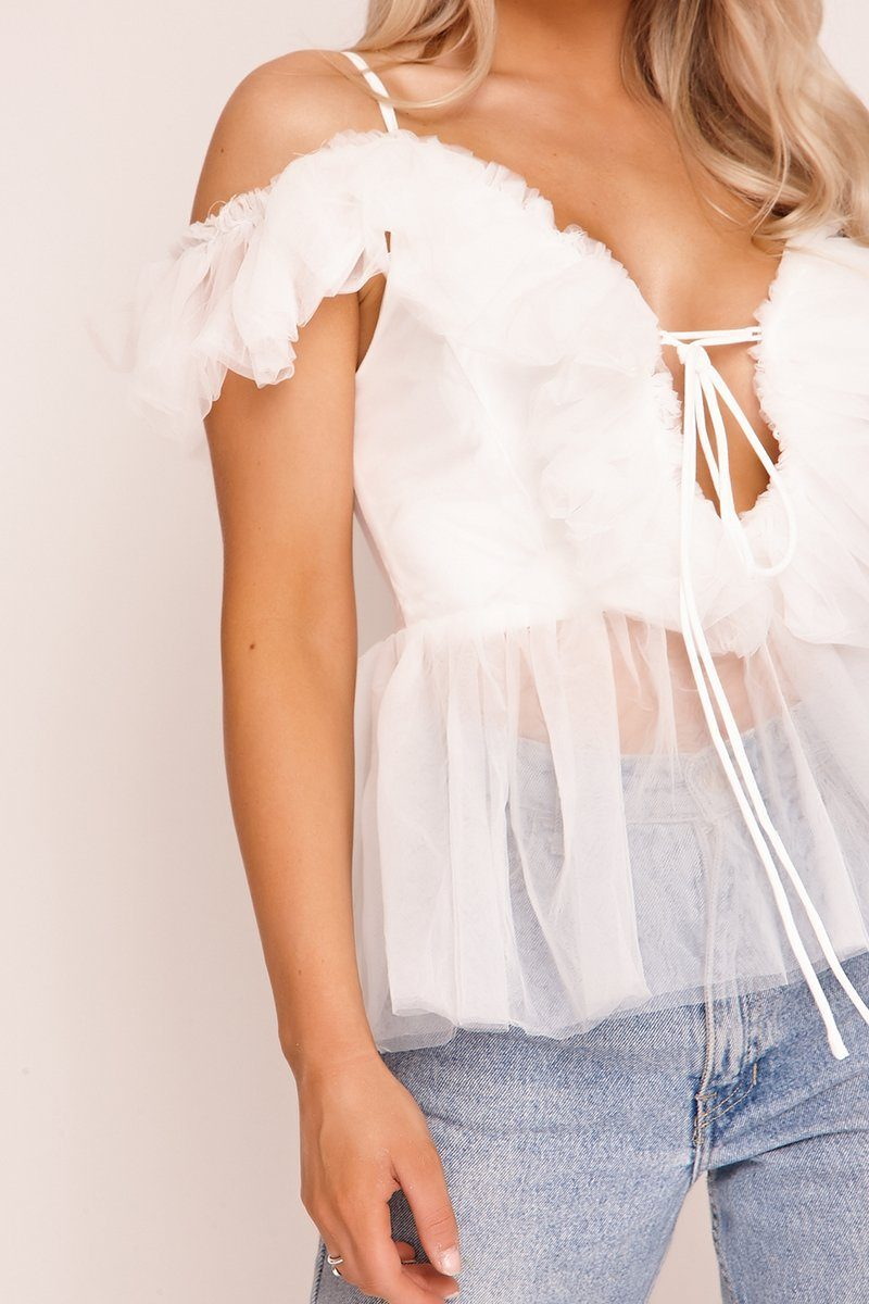 White Tulle Lace Up Top Tops Q4