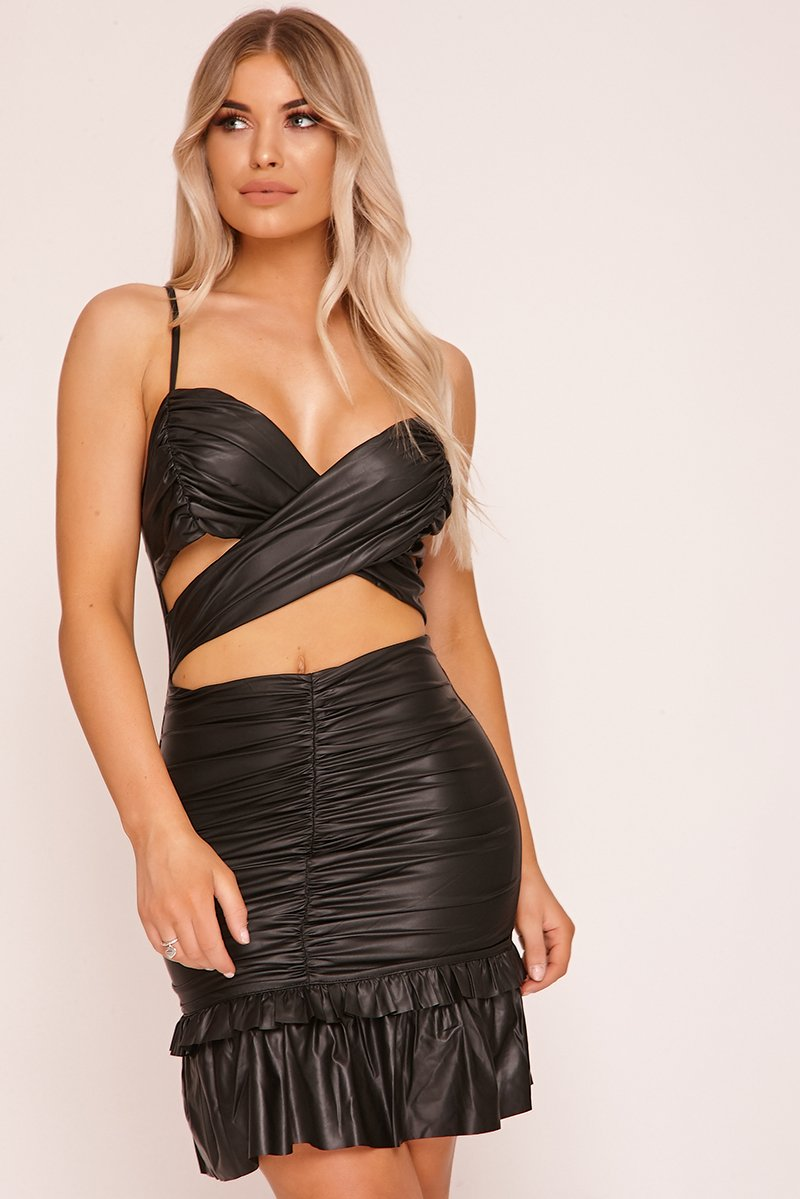 Black Wrap Front Cut Out Mini Dress