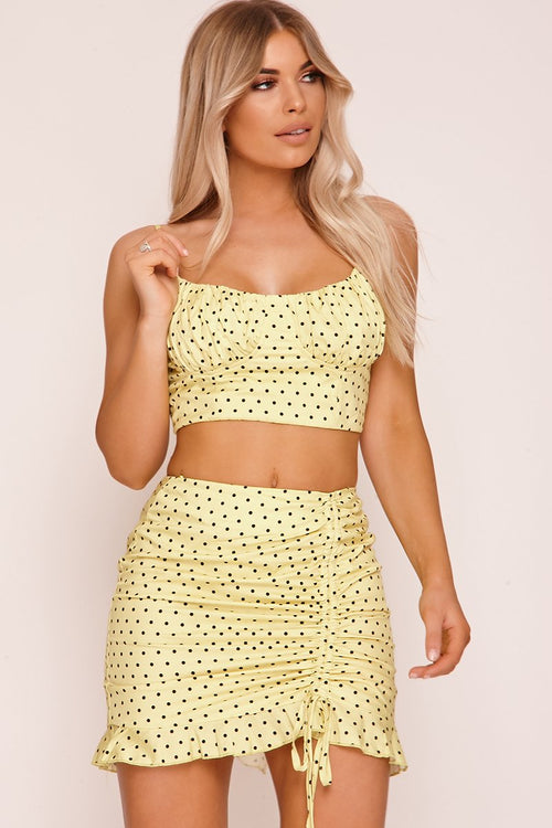 Yellow Polka Dot Bustier Crop Top