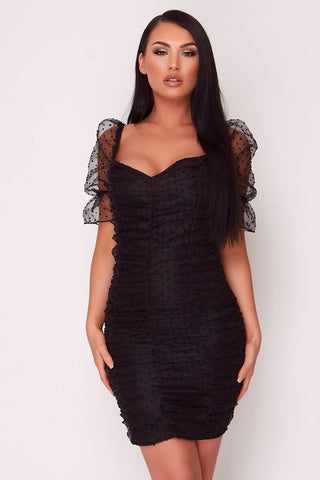 Black Mesh Sleeve Lace Back Dress