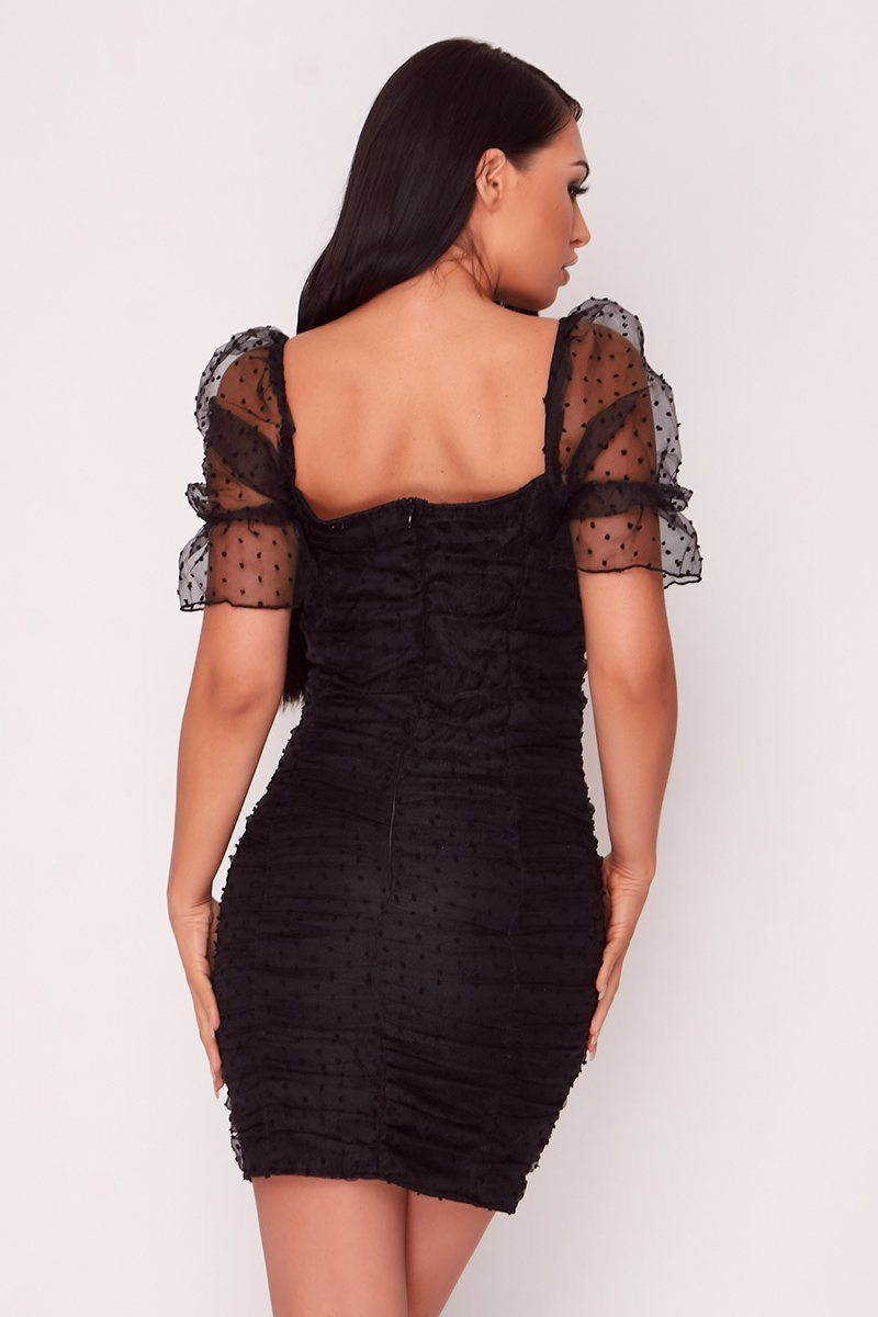 Black Dobby Mesh Bodycon Dress Dress Moguland