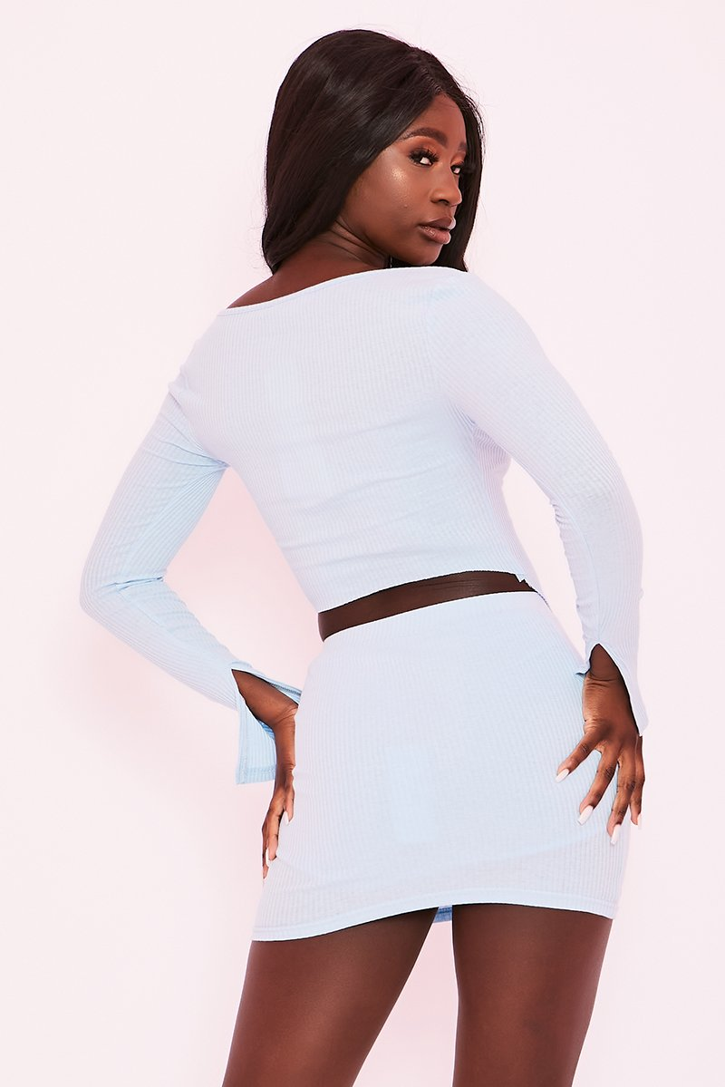 Light Blue Ribbed Double Zip Co-Ord