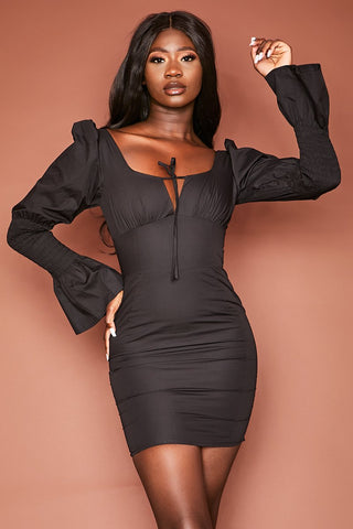Black Ruched Princess Style Dress