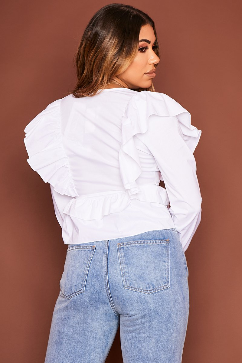 White Long Sleeve Frill Shirt