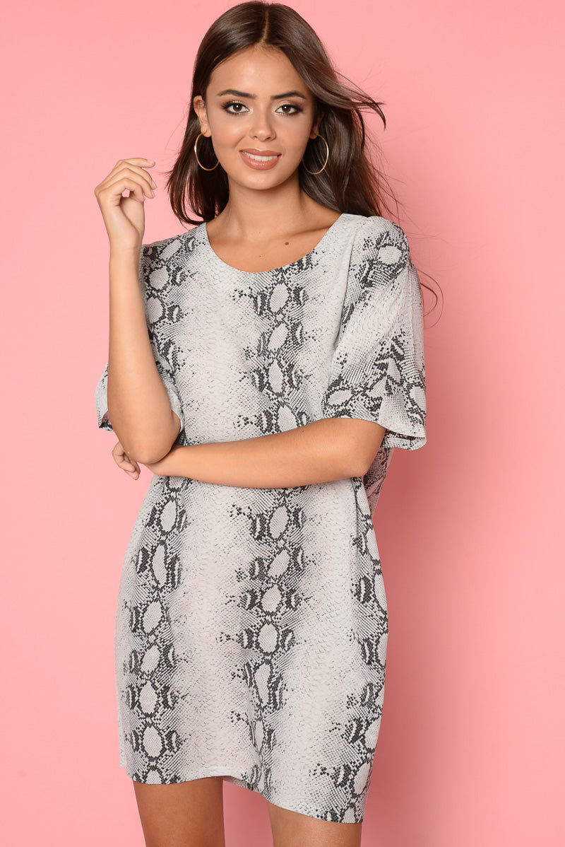 Alex Grey Oversized Snake Print T-Shirt Dress - HACHU