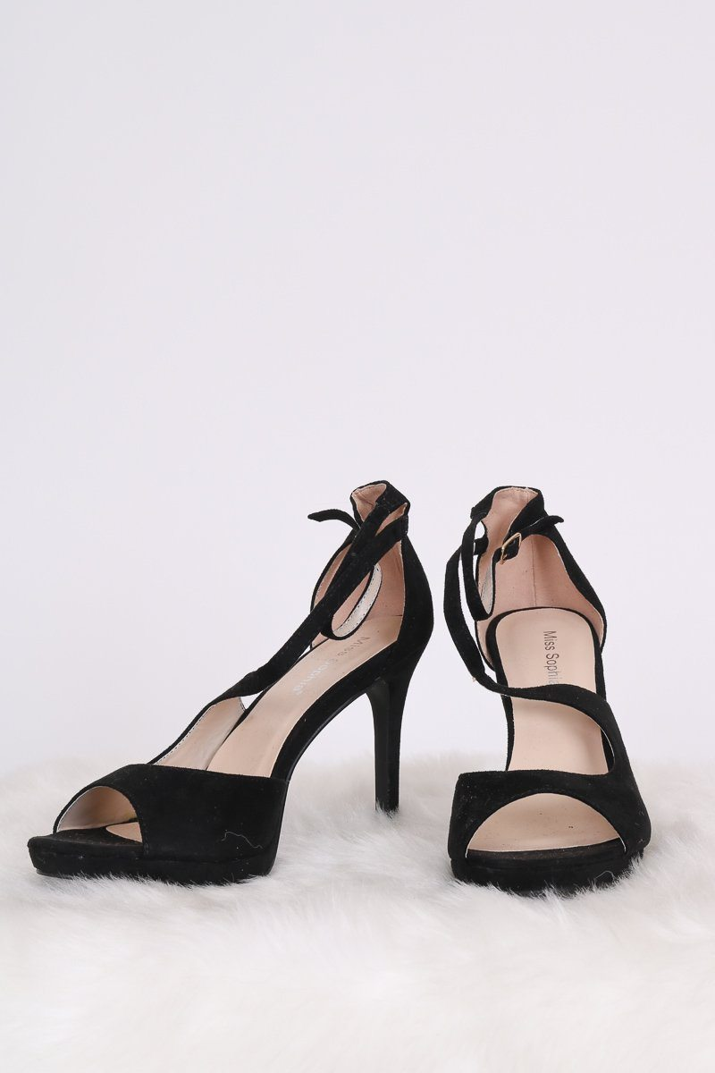 Tammy Open Toe Heels Hachu 7 Black