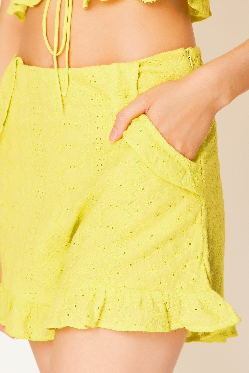 Yellow Eyelet Frill Shorts Shorts G234