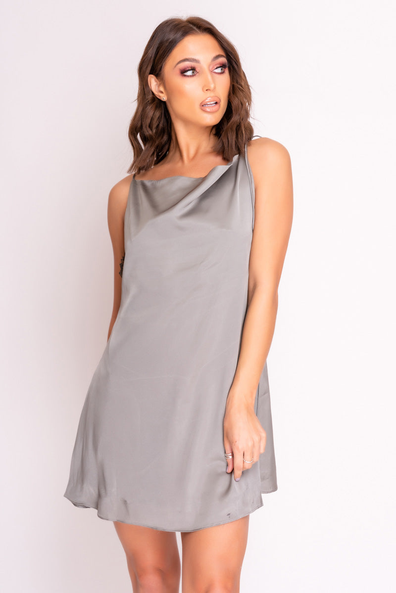 Grey Satin Tie Strap Shift Mini Dress