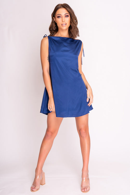 Blue Satin Tie Strap Shift Mini Dress