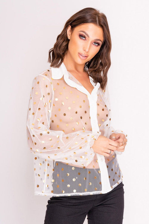White Sheer Shirt with Metallic Gold Spots Top Moguland