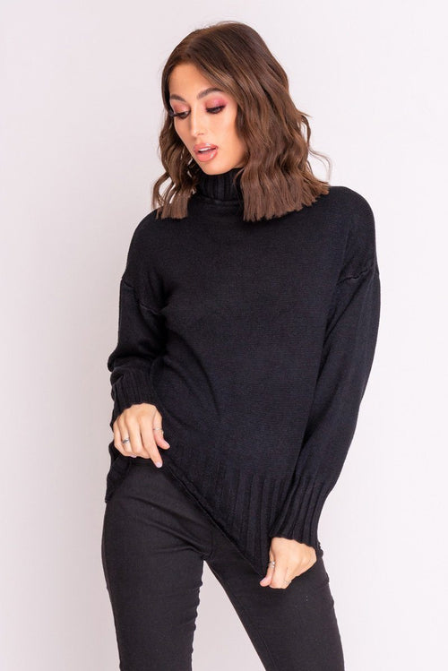 Black Turtle Neck Knitted Jumper Knitwear & Jumper Moguland