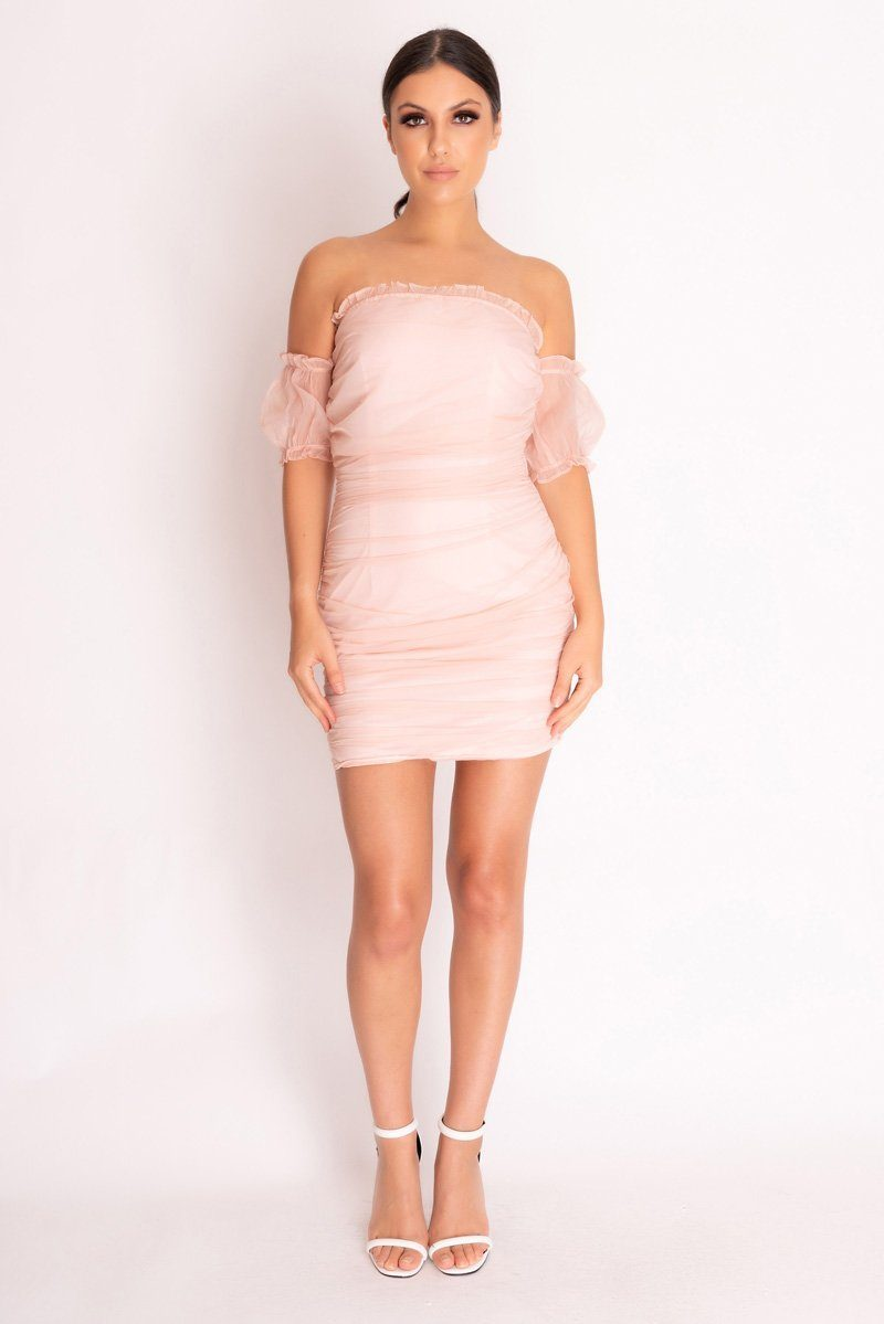 Pink Ruched Bardot Mini Dress Dress SX49