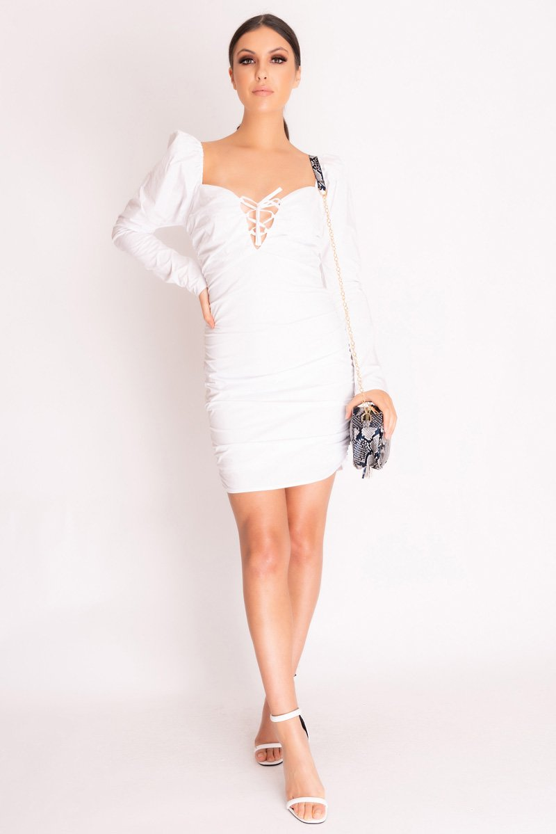 White Ruched Lace Up Bodycon Dress