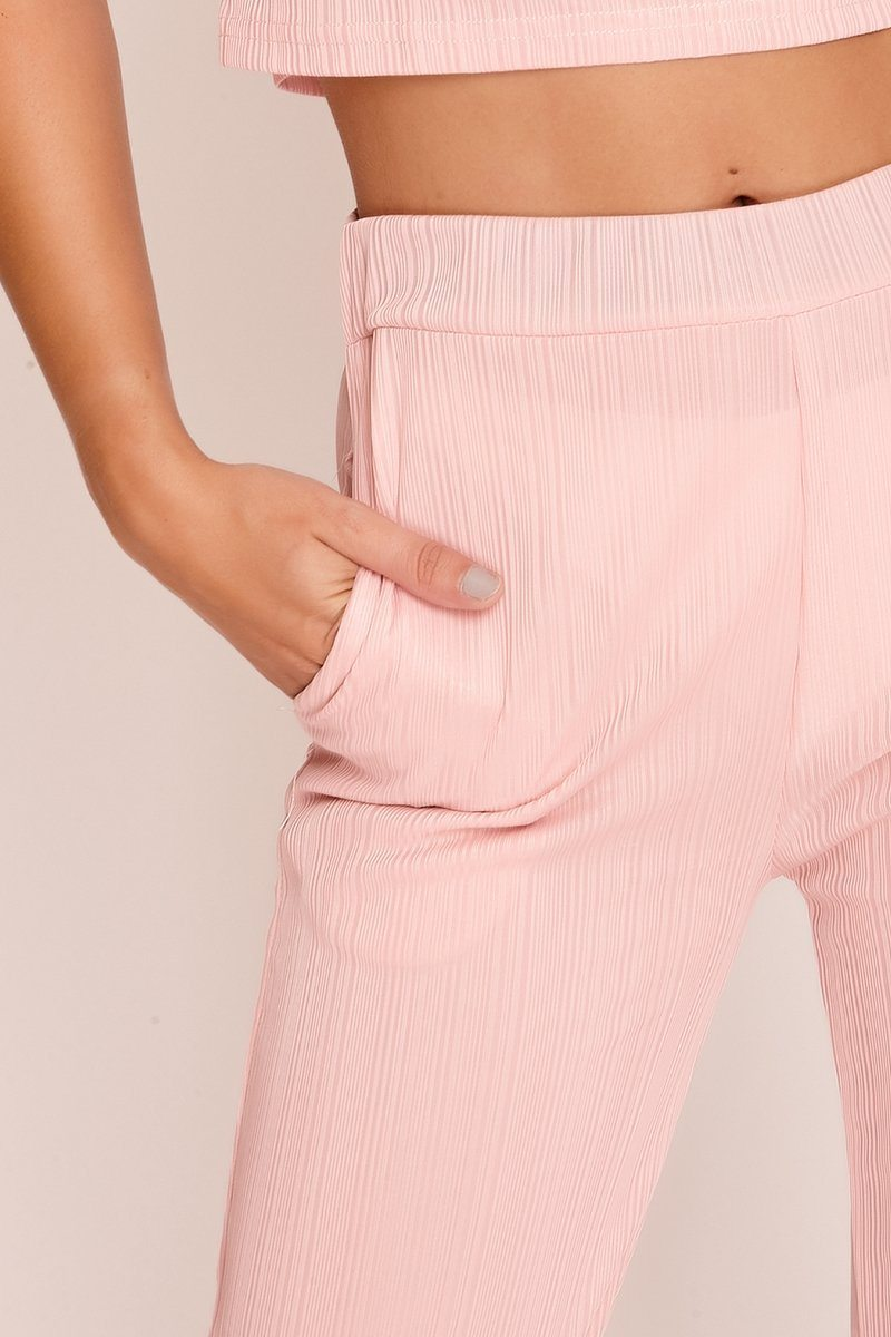 Baby Pink Soft Pleated Wide Leg Trousers Trousers 2ND LINE