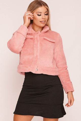 Peach Scallop Hem Mini Skirt