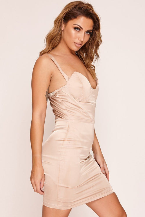 Champagne Satin Cup Detail Mini Dress Dresses F095