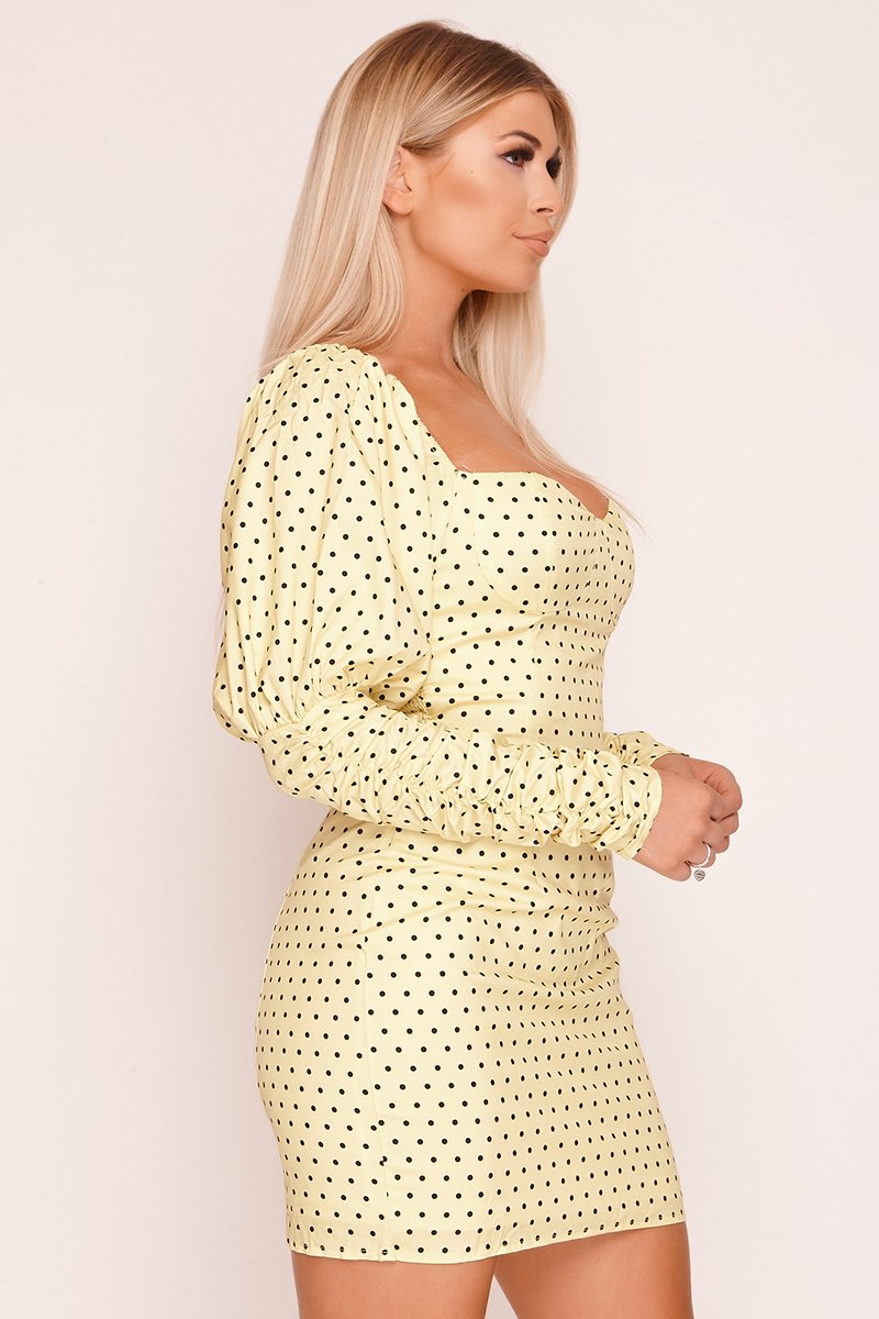 Yellow Puff Sleeve Polka Dot Milkmaid Dress