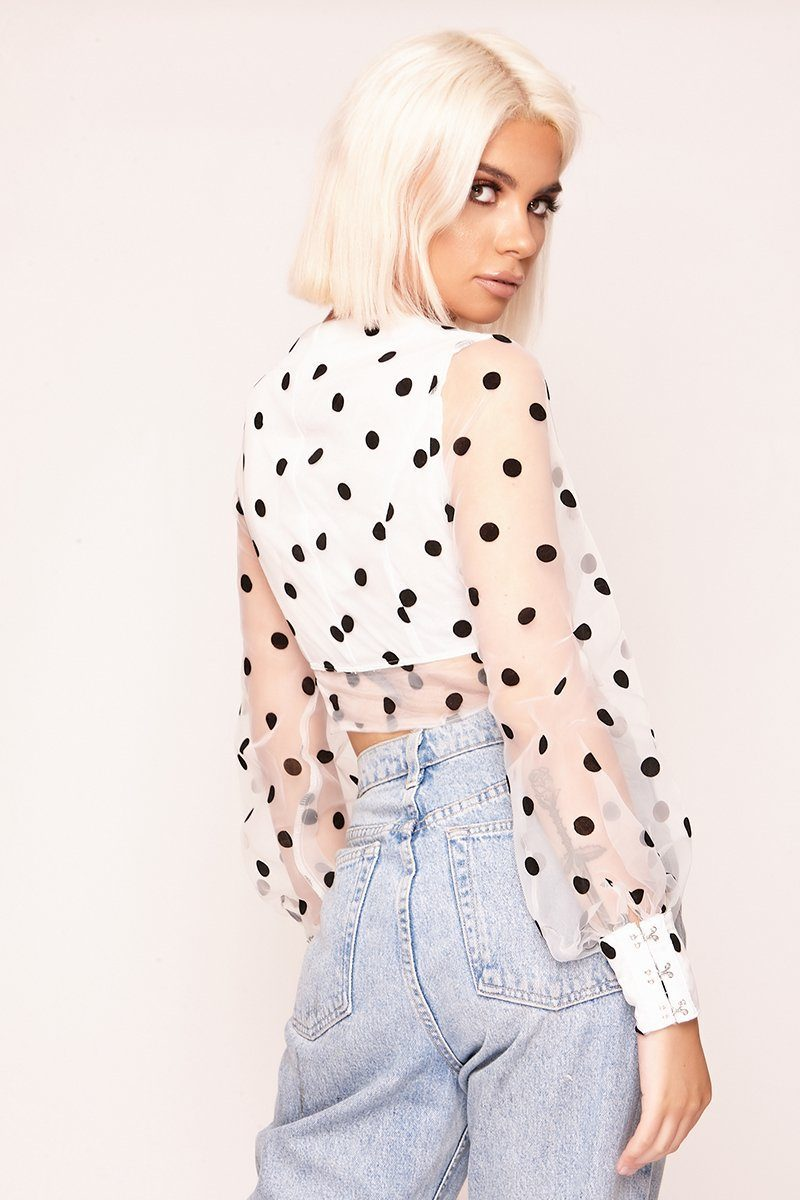 White Polka Dot Hook & Eye Mesh Crop Top Tops F168