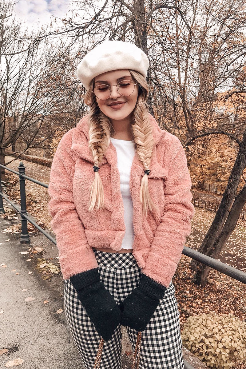 Pink Double Pocket Teddy Trucker Jacket