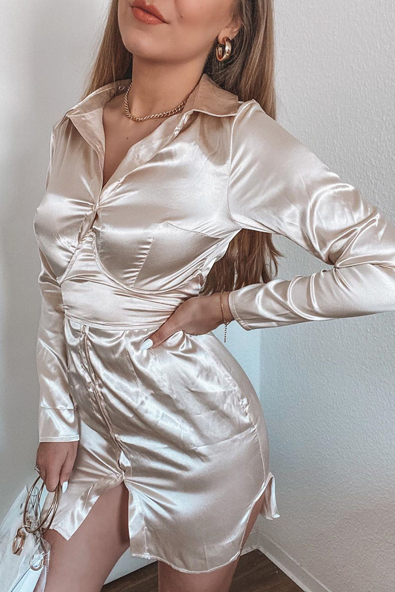 Cream Satin Corset Shirt Dress