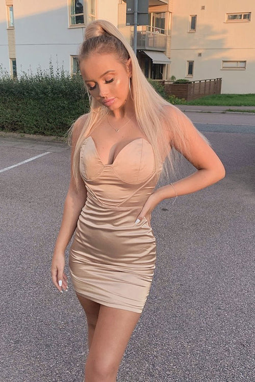 Champagne Satin Cup Detail Mini Dress