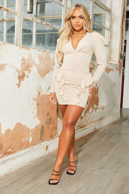 Beige ruched frill mini dress - heaven