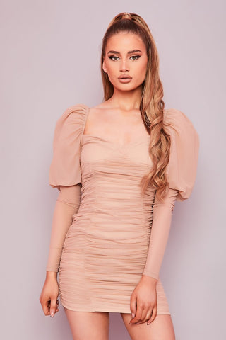 Pink Ruched Mesh Bardot Mini Dress