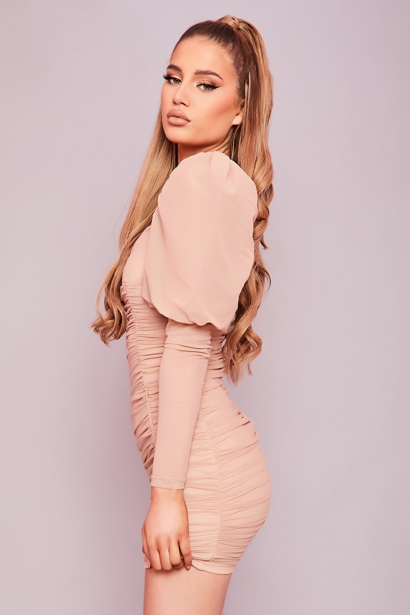 Beige Ruched Puff Sleeve Mini Dress- Letecia - KATCH ME