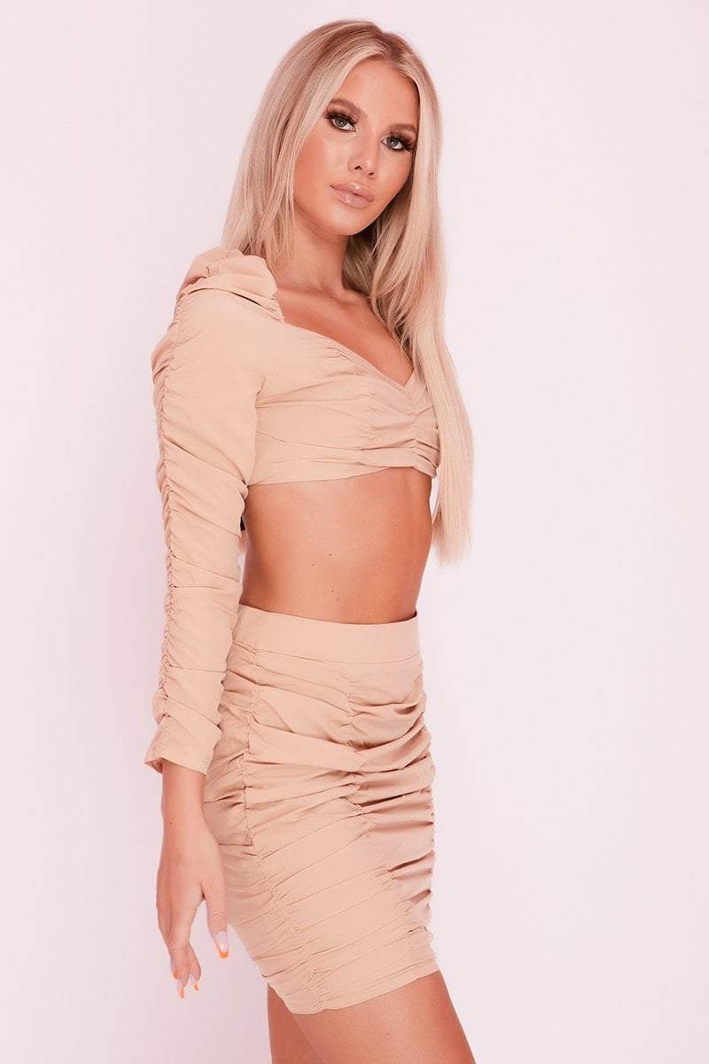 Beige Square Puff Sleeve Ruched Front Co-ord- Brielle -