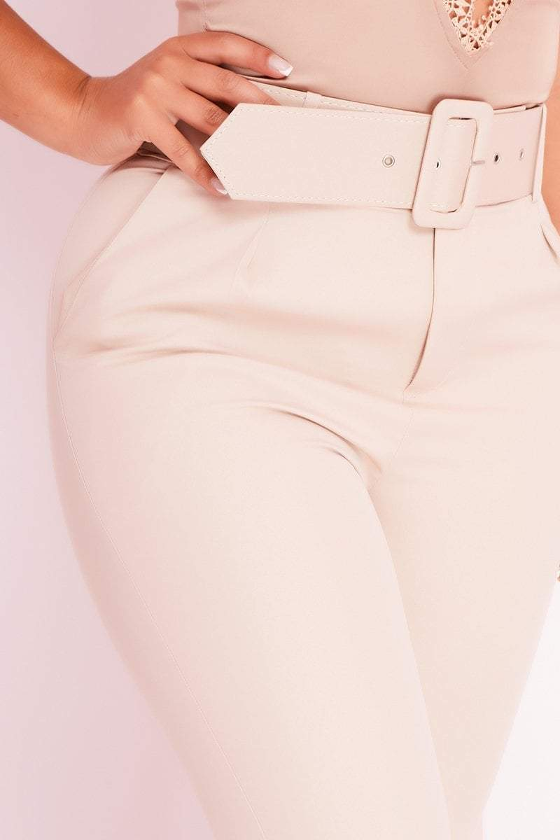 Beige Tailored Belted Cigarette Trousers- Zainab - Trousers