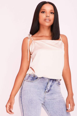 Pink Satin Ruched Crop Top