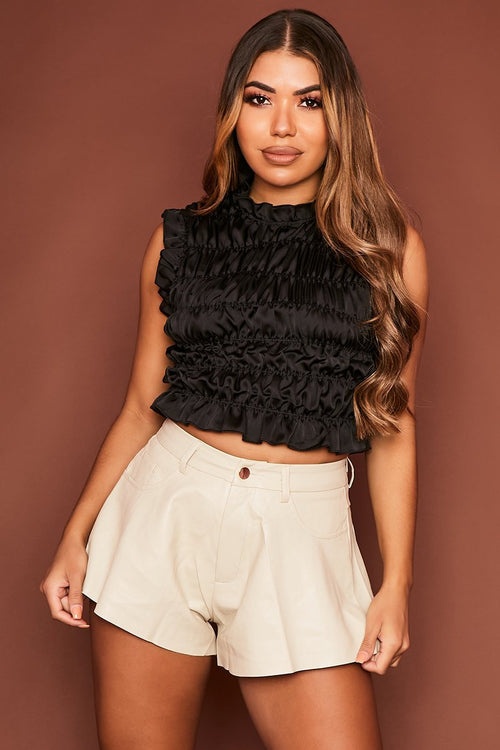Black Ruched Crop Top - Caoimhe - KATCH ME