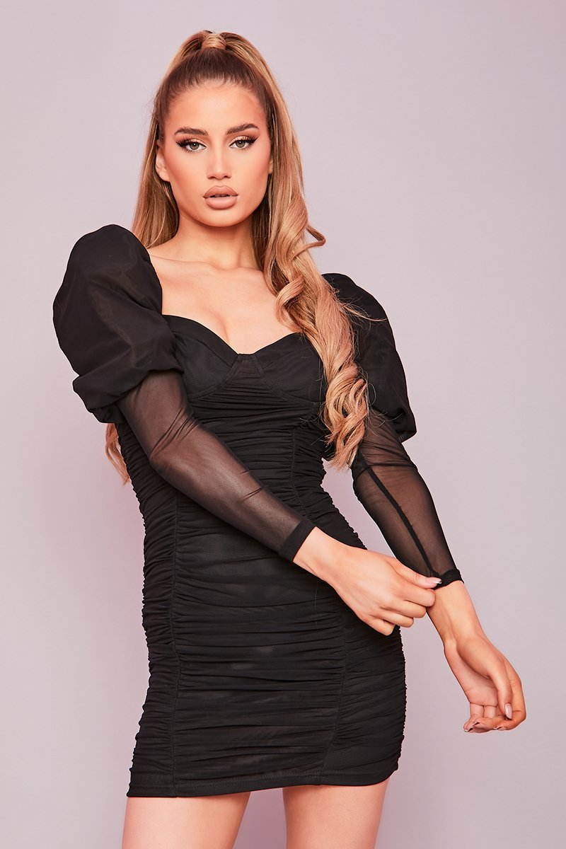 Black Ruched Puff Sleeve Mini Dress- Letecia - KATCH ME