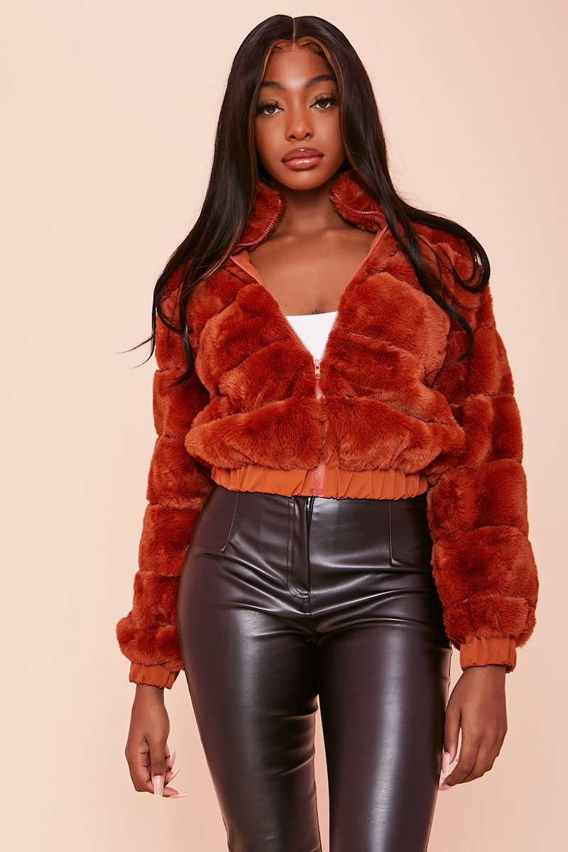 Brown Faux Fur Bomber Jacket - Simone - KATCH ME